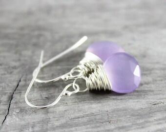 Lavender Gemstone Earrings, Light Purple Earrings, Lavender Drop Earrings, Small Dangle Earrings, Sterling Silver Chalcedony Earrings