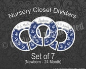 Assembled Navy Blue Anchors Baby Closet Dividers, Navy Blue Nursery Decor, Baby Clothes Organizer, Baby Boy Gift, Sailor Nursery Theme