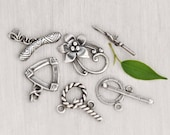 4 Sterling Silver Toggle Clasps - fancy flower triangle rope round clasp set lot -  medium large 20 22 30 mm rings