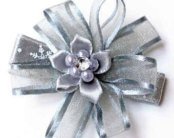 New Year Hair. Christmas Hair Bow. Sheer Silver Gray Organza Hair Clips With Non-Slip Grips. Hairclips Set of 2. Baby Toddler Girl Clippies