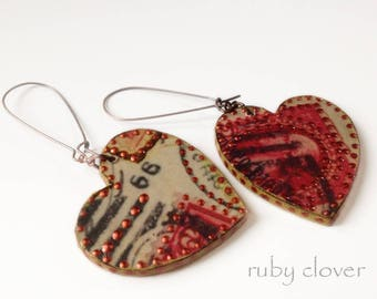 Decoupaged Heart Earrings, Vintage Postage Jewelry, Red and Copper, One of A Kind, 66, Earrings as Art, Long and Lightweight Earrings, Boho