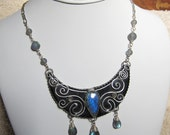 RESERVED, PAYMENT 2 of 2: The Dark Moon Lunula - Black Agate Crescent Moon Collarpiece with Blue Labradorite and Grey Moonstone