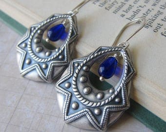 Sunflare - Antique Silver Earrings with Cobalt Blue Accents