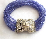 RESERVED...Sparkling Tanzanite, Vintage Rhinestone Clasp SEVEN Strand Bracelet..