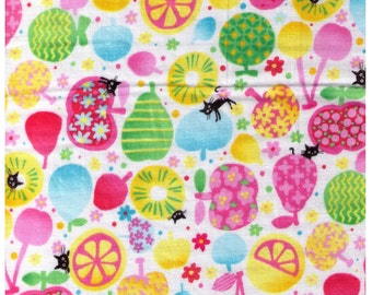 HALF YARD - Coco Land Cats, Flowers and Fruits - Double Gauze - Orange, Pear, Summer, Green, Pink  - Japanese Import Fabric