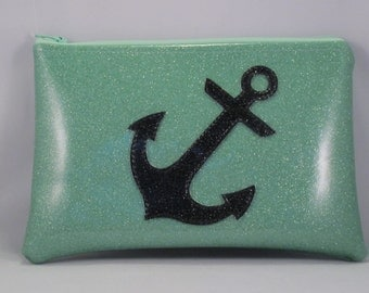 Anchor Aqua Blue Glitter Fanny Pack