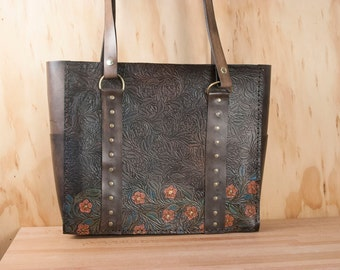 Tooled Leather Tote Bag with Flowers - Handmade in pink, turquoise and antique black - ONE OF A KIND - Leather Purse, Handbag