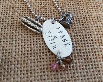 Frankenstein - hand stamped necklace