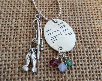 Keep it Reel -Fishing charm- Sterling Silver, Hand Stamped Necklace, Gift for her