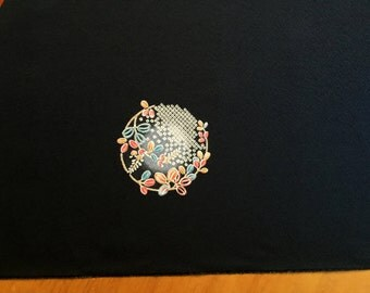 Vintage Japanese Kimono Fabric - Japanese Pattern - Black with Blue Red White 14.7 inches x 12 Yard (37.6cm x 12 M)  Full Bolt