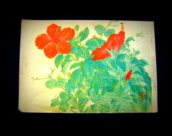 Vintage Japanese Print - Flower Print - Vintage Print - Vintage Magazine Insert - Magazine Cut Out - Flowers Hibiscus rosa-sinensis