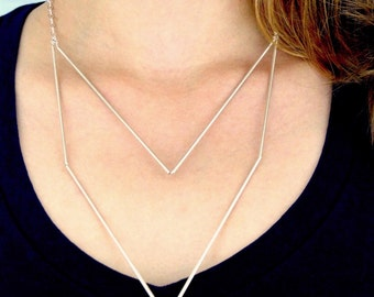 NEW Medium Silver Geometric necklace, silver tube necklace, minimalist necklace, silver tube necklace, collar necklace, modern necklace