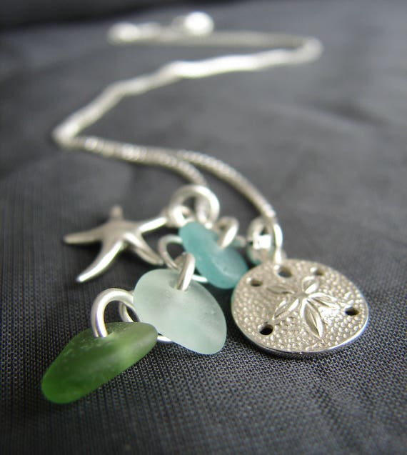 Ocean sea glass necklace in aqua, white and olive