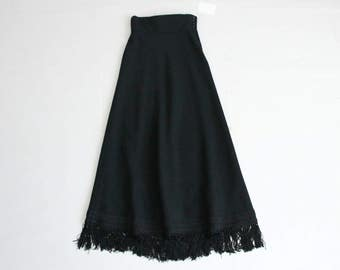 black wool maxi skirt | long fringe skirt | black wool skirt