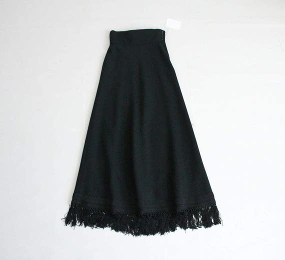 black wool maxi skirt fringe skirt black wool skirt