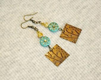 """Turquoise Poppy Glass Flower Style Boho Earrings Brass and Lampwork Bead 2.5"""" Dangles Gypsy Girl Festival Bohemian Earrings"""