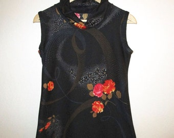 Floral Cowl Neck Top - Vintage Polyester Knit Blouse - 1970's Sleeveless Black Red-Orange Print - Size Small