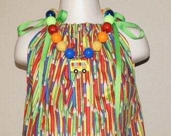 Pillowcase dress pencil school dress chunky bead necklace dress necklace set primary colors dress