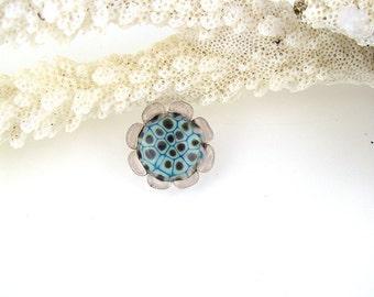 Garden flower art glass snap charm chunk popper interchangeable handmade