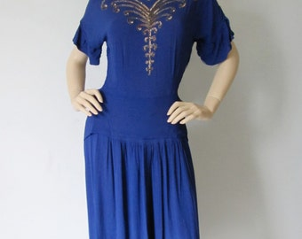Deco Doll - Vintage 1940s Sapphire Blue Holiday Party Cocktail Dress Med M