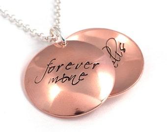 Forever Mine Adoption Locket, Handstamped Copper Locket, Personalized Name Locket