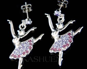 Swarovski Crystal Lavender Purple BALLERINA The Nutcracker Ballet Dancer Dance Girls Pierced Earrings Christmas Gift New for Swan Lake Lover
