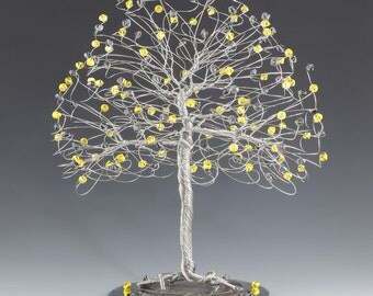 Tree Cake Topper with Swarovski Crystal Elements Citrine and Black Diamond on Silver Gold or Copper Tone Wire Cream Yellow Gray