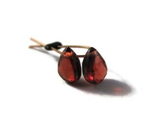Two Tiny Garnet Teardrop Briolettes, 2 Faceted Garnet Matched Pair of Gemstones, 6mm x 4mm, January Birthstone (Pt-Ga14)
