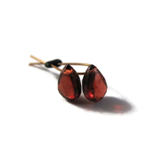 Two Tiny Garnet Teardrop Briolettes, 2 Faceted Garnet Matched Pair of Gemstones, 6mm x 4mm, January Birthstone (Pt-Ga14)