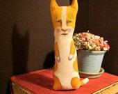 cat art doll , little cat , sandy mastroni ,whimsical , wall art doll , shelf art,