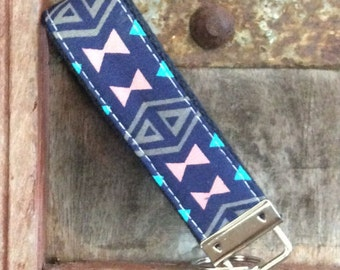 READY TO SHIP-Beautiful Key Fob/Keychain/Wristlet-Tribal on Navy-3