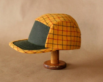 Field Hat | Wool and Waxed Canvas Hat | Gold Plaid and Green | Unisex Wool Cap | 5 Panel Camp Hat
