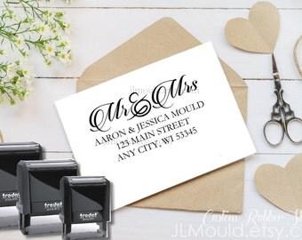 1006 Self Inking JLMould Modern Family Custom Personalized Rubber Stamp Return Address  Wedding Stamper Choose Ink Color