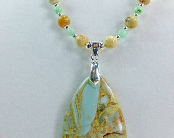 Amazing Stone Pendant with Pale Pastel Green Stone Beads and Brown Marbled Jasper Beads OAAK Necklace