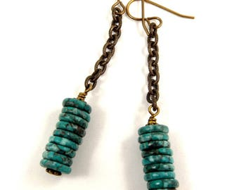 Turquoise Green Earrings Fossil Agate Jewelry Long Dangle Earrings Antique Brass Accessory Bronze and Green Dangles