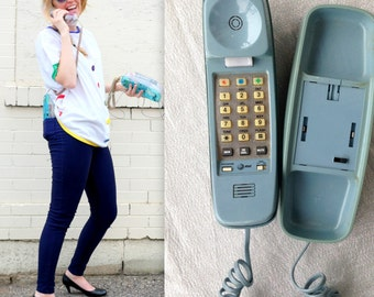 1980's Blue Grey Landline Phone / Dial Up Telephone / Retro Cord Wall Phone House Telephone Gift for Teenager Teen Punch pad buttons