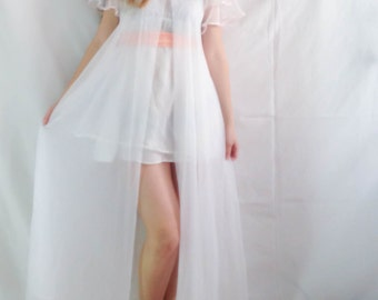1960's Sheer White Chiffon Robe . Bell Sleeves Rose Clasp . Romantic . Petite . Large . scalloping layers . Virgin Suicides . Mary Lux