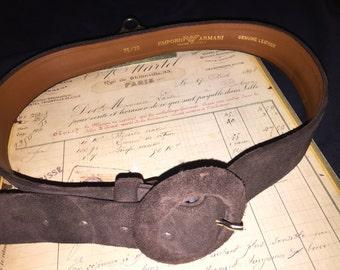 Vintage Emporio Armani Lady's Brown Suede Belt