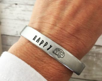 Happy Camper Bracelet - Cuff - Wide - Personalized Jewelry - Hand Stamped - Gift for Her - Outdoors - Adventure - Friend Gift - Summer