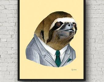 Oversized Sloth Gentleman art print - Ryan Berkley Illustration - 16x20 or 20x28 - Modern Decor - Modern Nursery - Modern Kids - Sloth Art