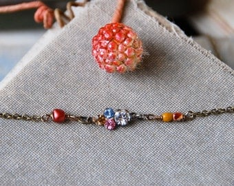 Crystal choker necklace /beaded short necklace/layering necklace. Tiedupmemories