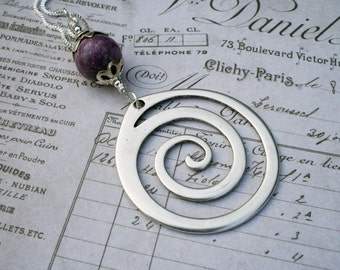 Spiral pendant swirl silver stone necklace