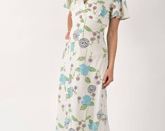 Vintage Cream Retro Floral Print Flutter Sleeve Maxi Dress (Size Small/Medium)