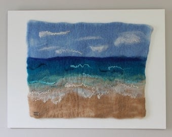 Beach Scene-Felted Wool Wall Hanging