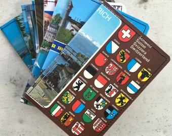 Slim Wallet-  Vintage Postcard of Switzerland- Choose 1