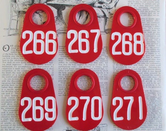 Set of Six Doublesided Red Vintage Cow Tags
