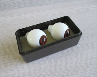 Pair of Vintage Glass Eyes - Brown (D)