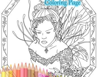 Fairy Roses Arachnid Free Adult Coloring Page -  Digital Download - Coloring for Grownups Print Your Own