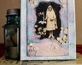 Believe  8 x 10 inch altered canvas with vintage laces and embellishments