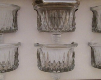 Partylite, tealight holder, hand crafted glassware, glass candle holder, diamond point glass, tea light holder, glass tealight holder